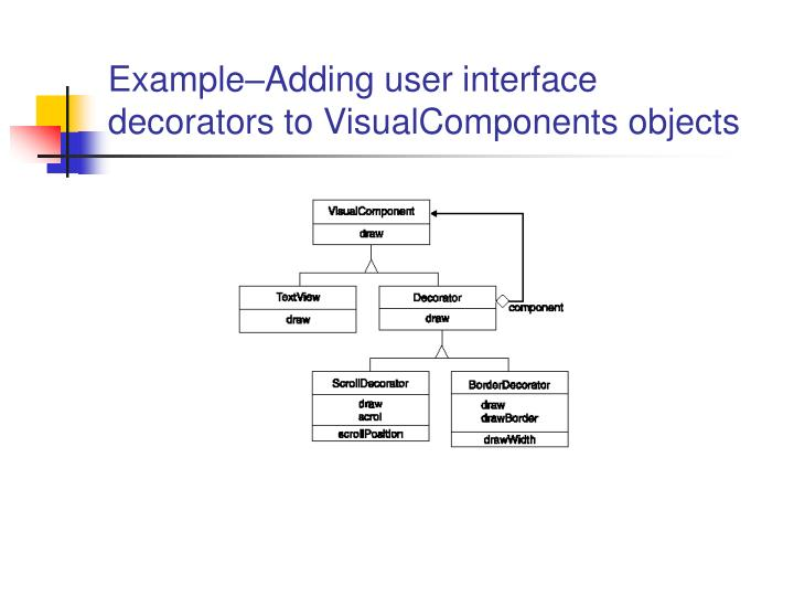 Example–Adding user interface decorators to VisualComponents objects