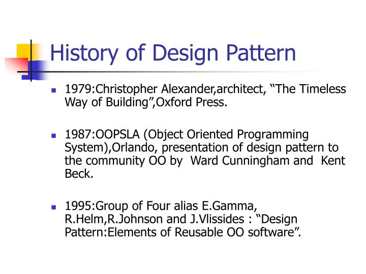 History of Design Pattern