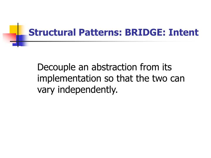 Structural Patterns: BRIDGE: Intent
