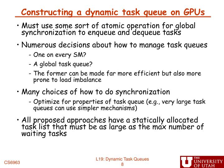 Constructing a dynamic task queue on GPUs