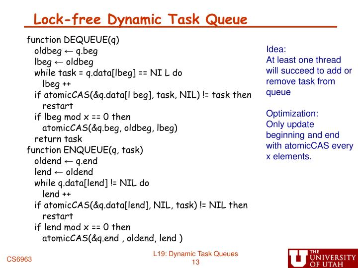 Lock-free Dynamic Task Queue