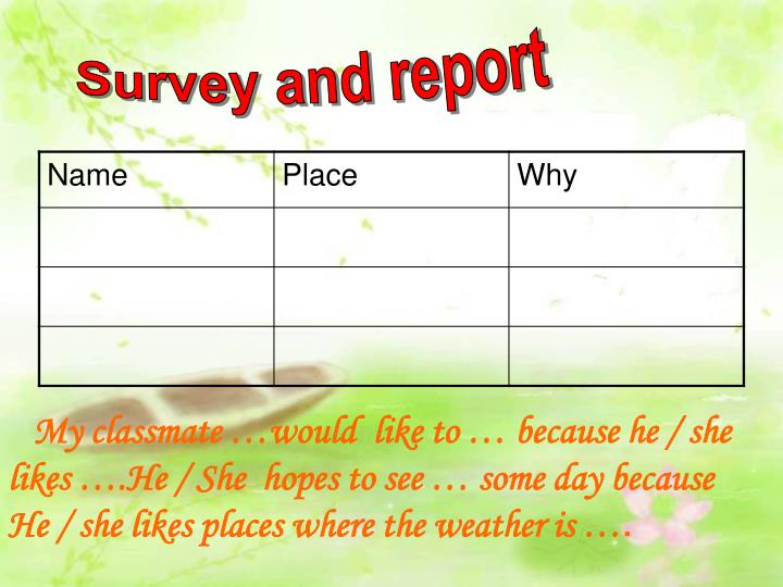 Survey and report