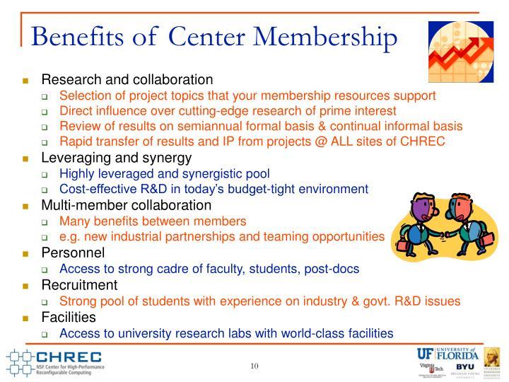 Benefits of Center Membership