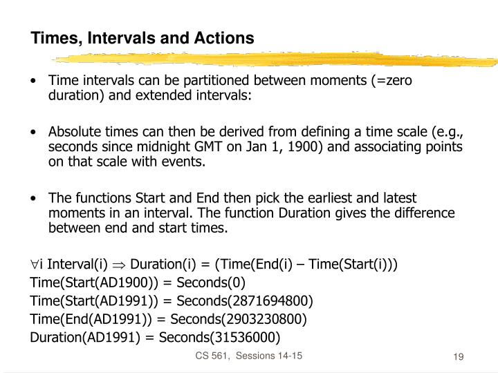 Times, Intervals and Actions