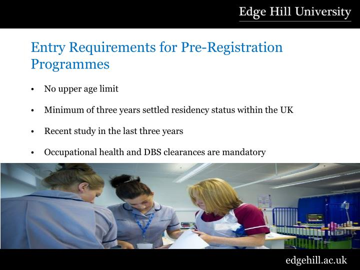 Entry Requirements for Pre-Registration Programmes