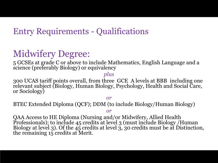 Entry Requirements - Qualifications