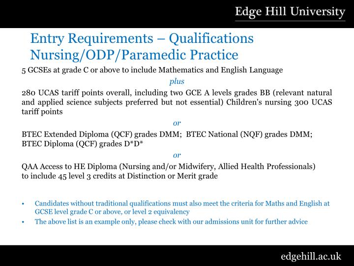 Entry Requirements – Qualifications Nursing/ODP/Paramedic Practice