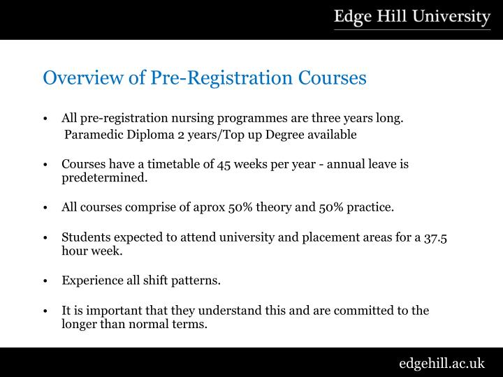 Overview of Pre-Registration Courses