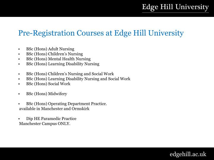 Pre-Registration Courses at Edge Hill University