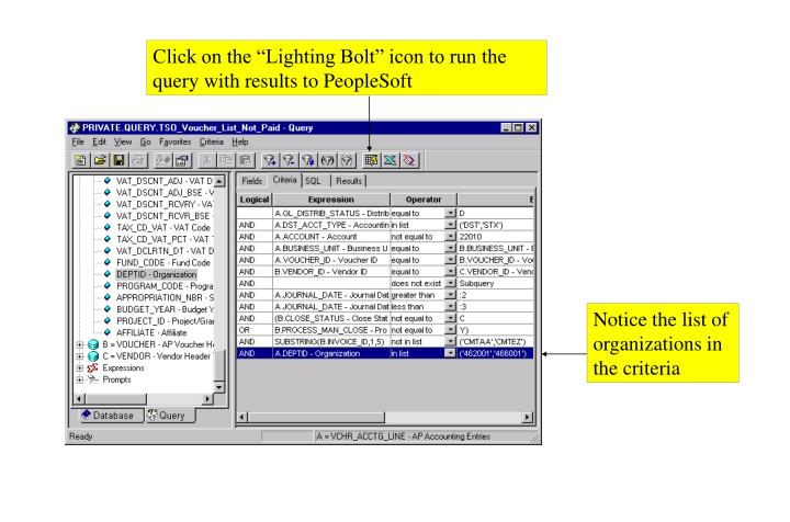"Click on the ""Lighting Bolt"" icon to run the query with results to PeopleSoft"