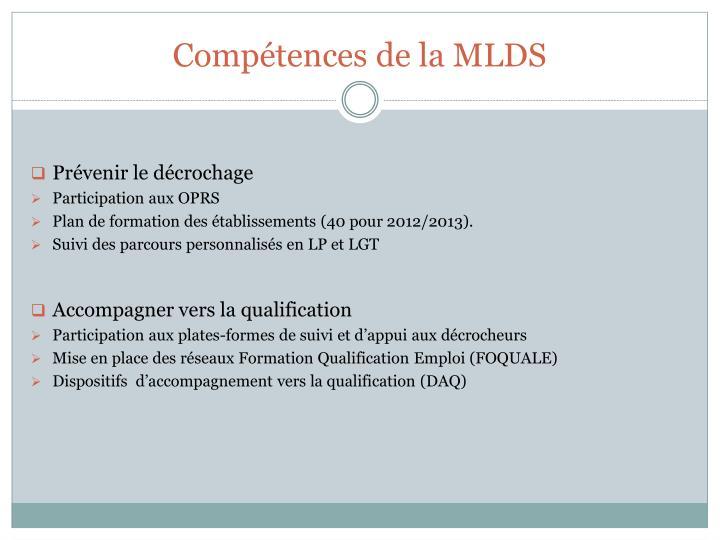 Compétences de la MLDS