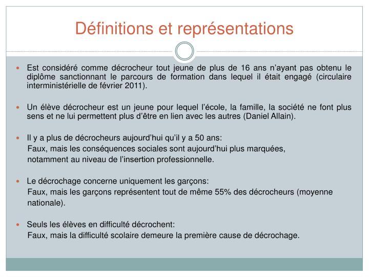 Définitions et représentations