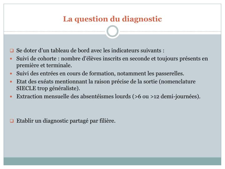 La question du diagnostic
