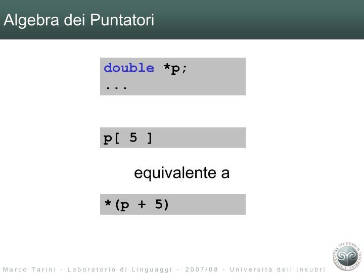 Algebra dei Puntatori