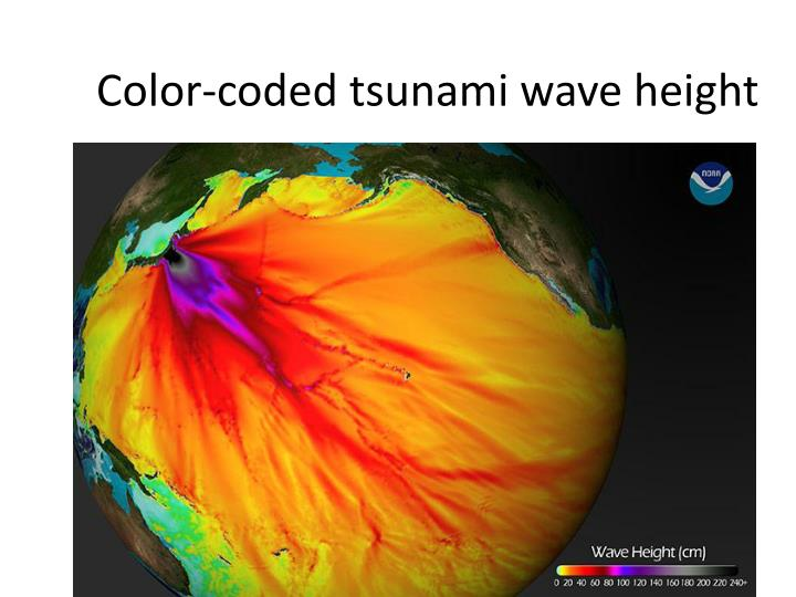 Color-coded tsunami wave height