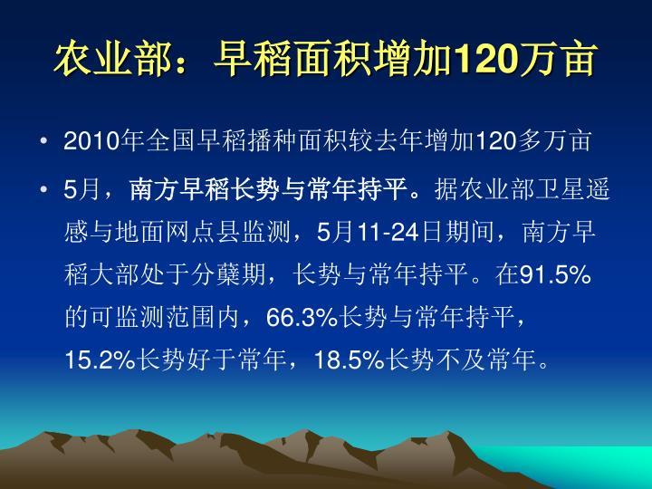 农业部:早稻面积增加