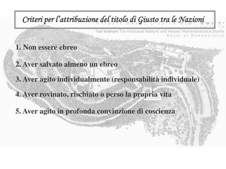 Criteri per l'attribuzione del titolo di Giusto tra le Nazioni