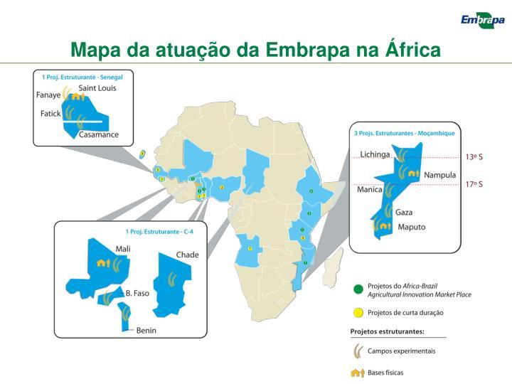 Mapa da atuação da Embrapa na África
