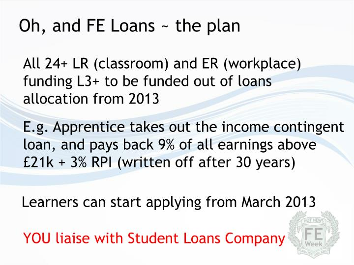 Oh, and FE Loans ~ the plan