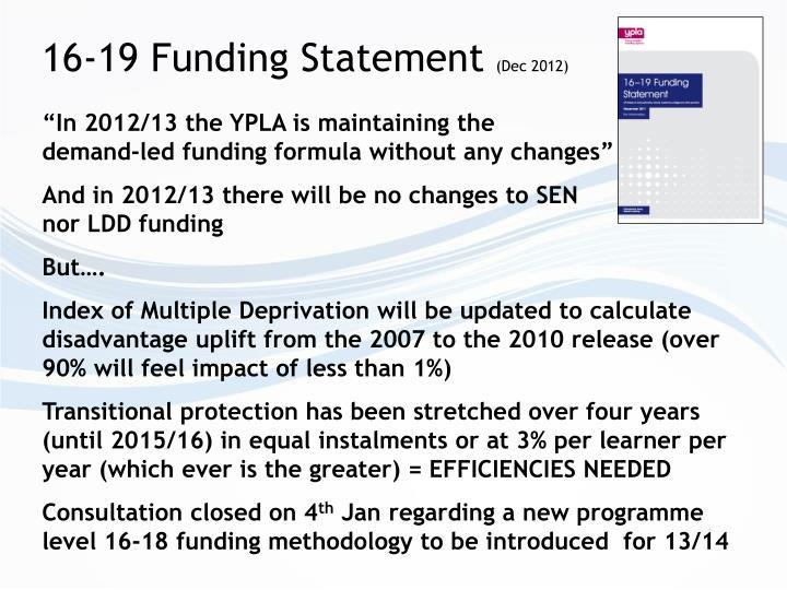 16-19 Funding Statement
