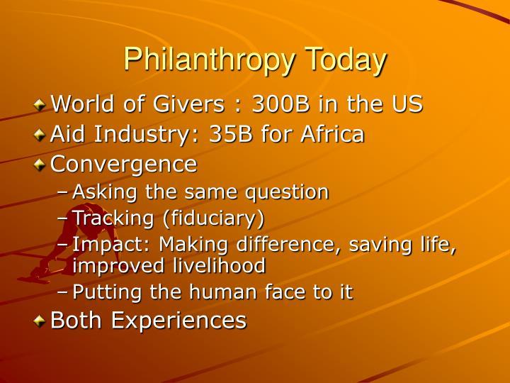 Philanthropy Today