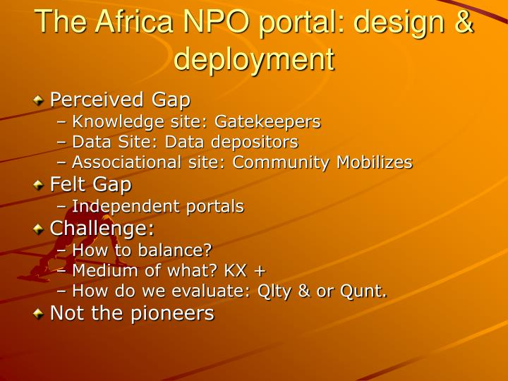 The Africa NPO portal: design & deployment