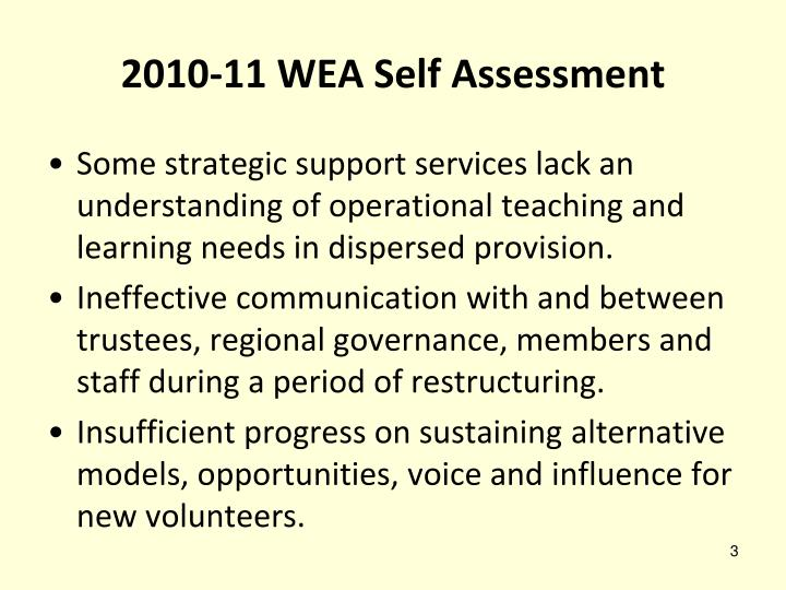 2010-11 WEA Self Assessment