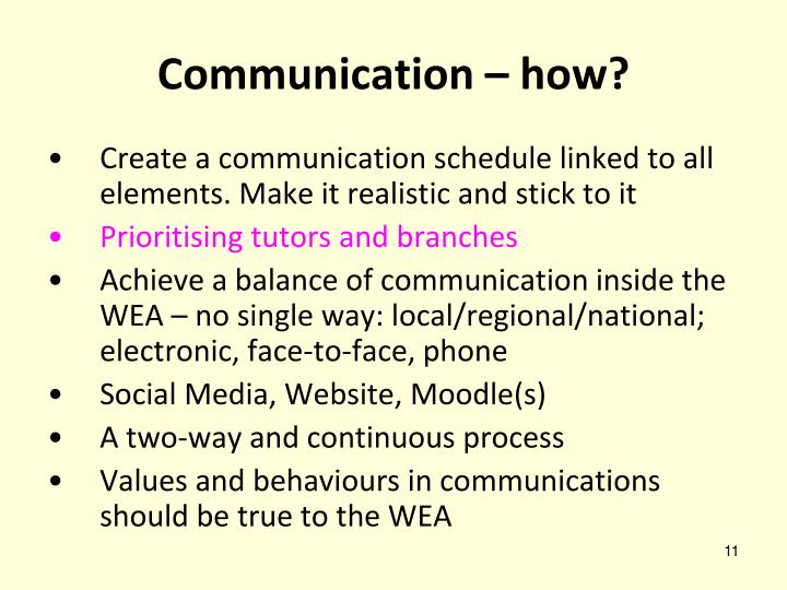 Communication – how?