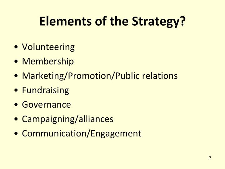 Elements of the Strategy?