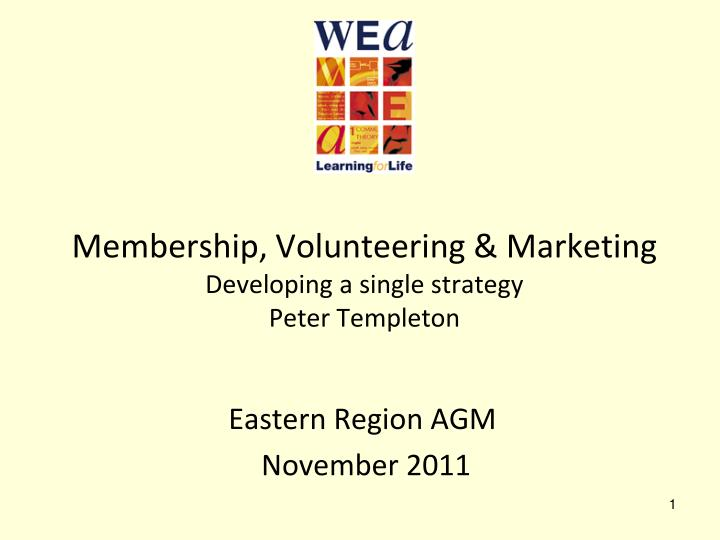 Membership volunteering marketing developing a single strategy peter templeton