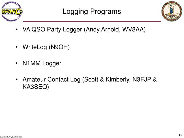 Logging Programs