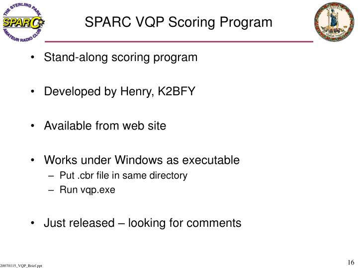 SPARC VQP Scoring Program