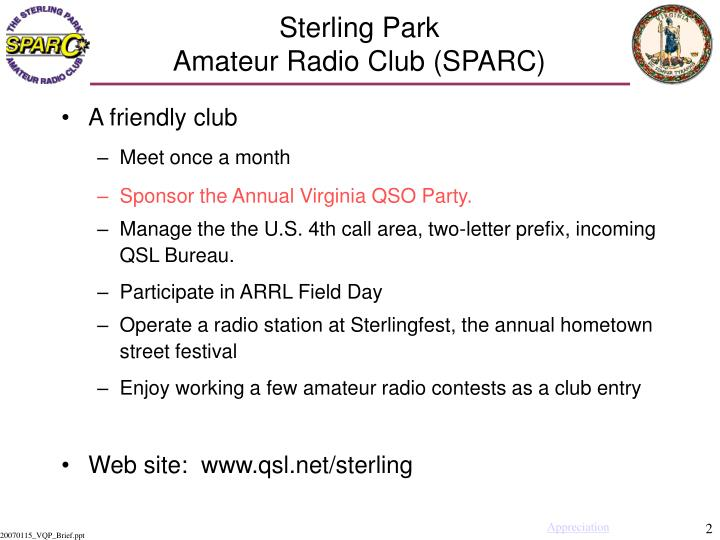 Sterling park amateur radio club sparc1
