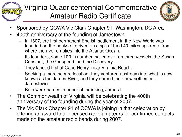 Virginia Quadricentennial Commemorative Amateur Radio Certificate