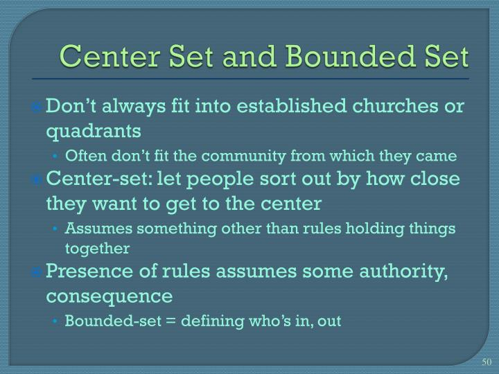 Center Set and Bounded Set