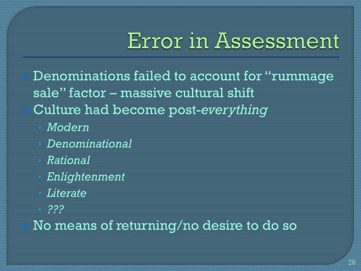 Error in Assessment
