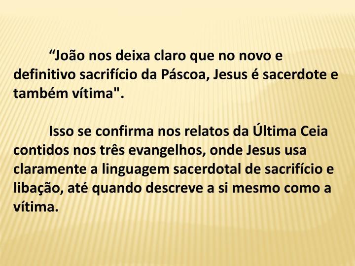 """Joo nos deixa claro que no novo e definitivo sacrifcio da Pscoa, Jesus  sacerdote e tambm vtima""""."""