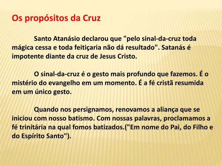 Os propsitos da Cruz