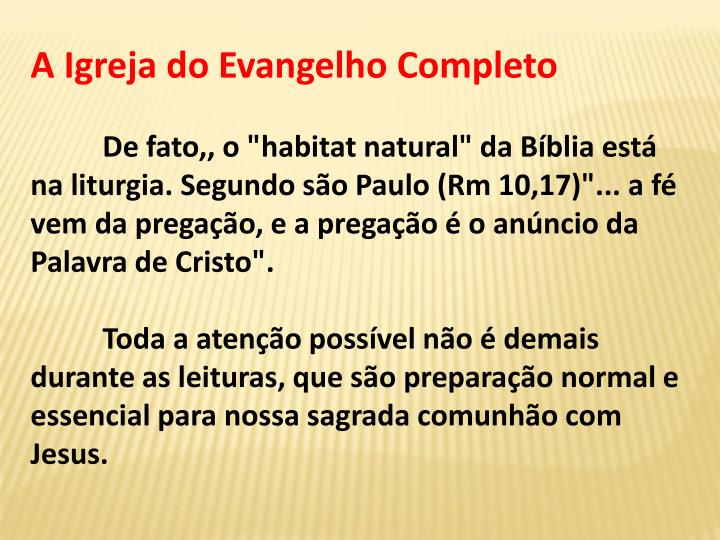 A Igreja do Evangelho Completo