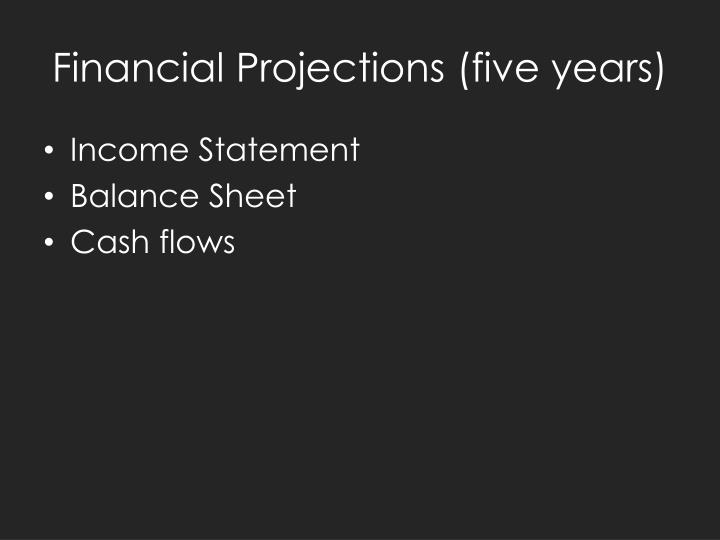 Financial Projections (five years)