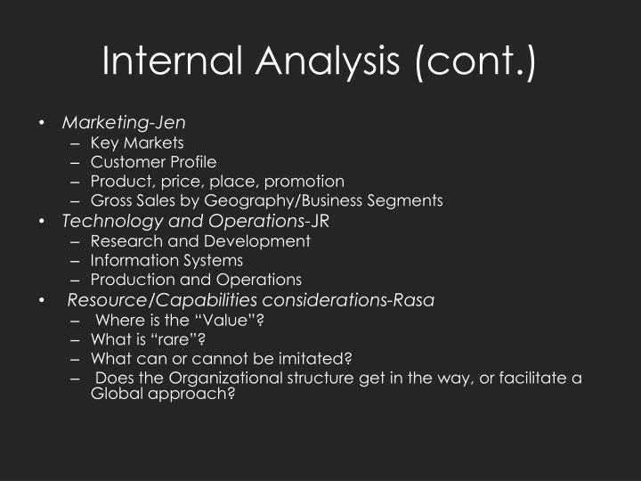 Internal Analysis (cont.)