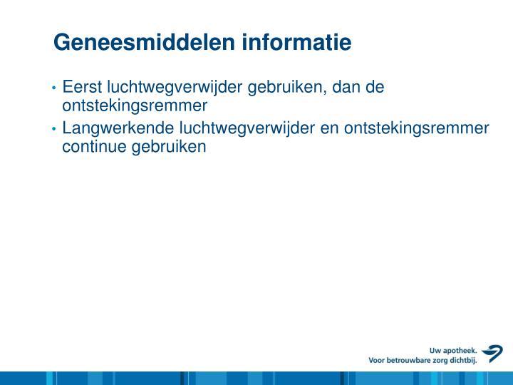 Geneesmiddelen informatie