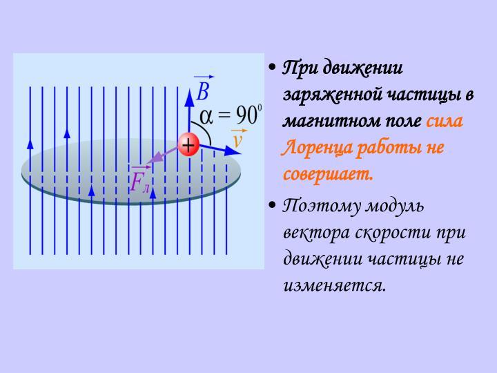 При движении заряженной частицы в магнитном поле