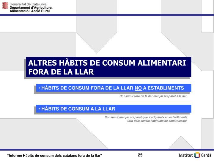 ALTRES HÀBITS DE CONSUM ALIMENTARI FORA DE LA LLAR
