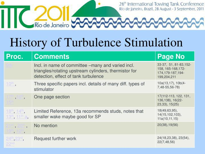 History of Turbulence Stimulation