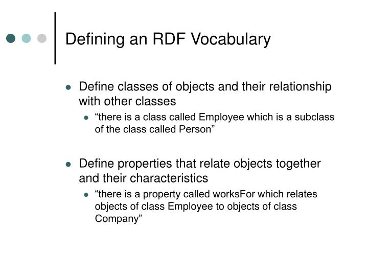 Defining an RDF Vocabulary