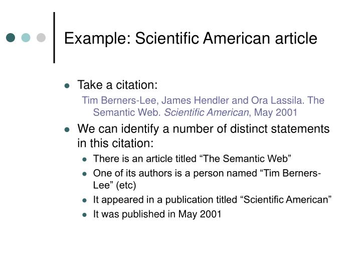 Example: Scientific American article