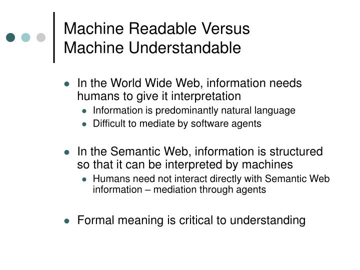 Machine Readable Versus