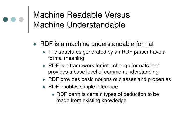 Machine Readable Versus