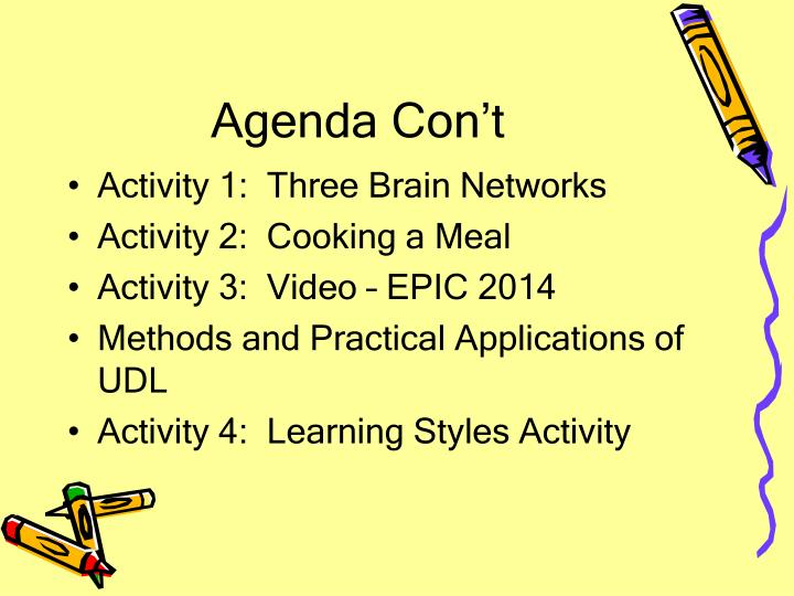 Agenda Con't
